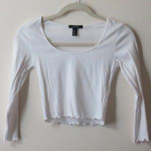White long sleeve cropped shirt